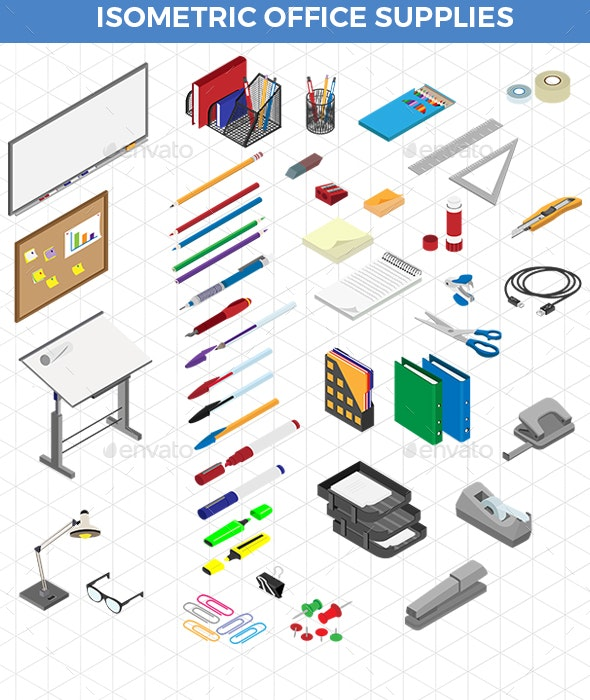 Isometric Office Supplies - Man-made Objects Objects