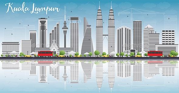 Kuala Lumpur Skyline with Gray Buildings. - Buildings Objects