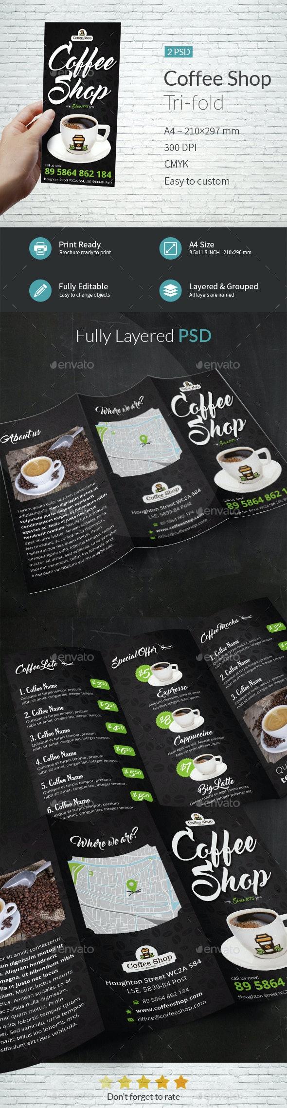 Coffee Shop Tri-fold Brochure Template - Brochures Print Templates