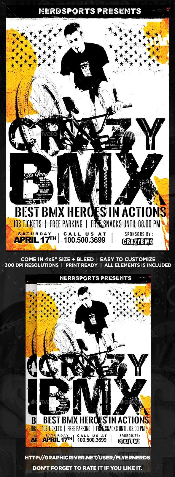Crazy BMX Championships Sports Flyer - Sports Events