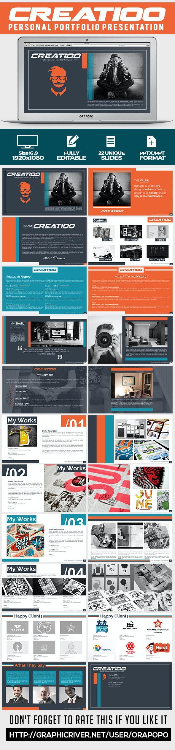 Creatioo ~ Personal Portfolio Presentation - Creative PowerPoint Templates