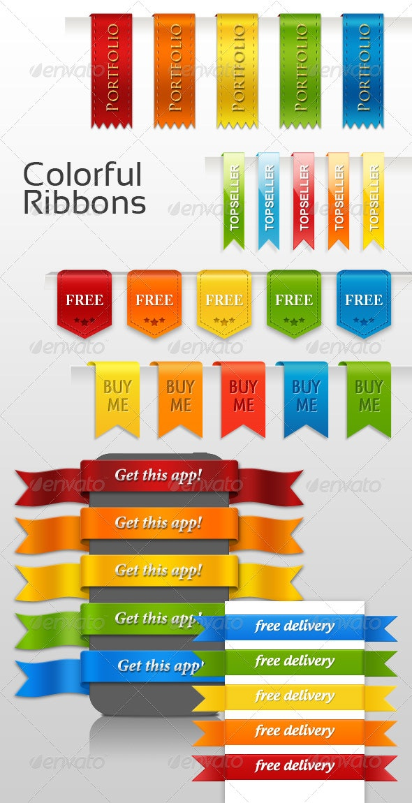 Colorful Ribbons - Miscellaneous Web Elements