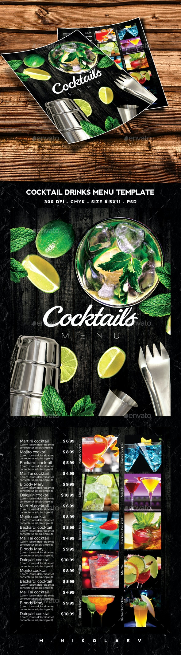 Cocktails Drinks Menu - Food Menus Print Templates