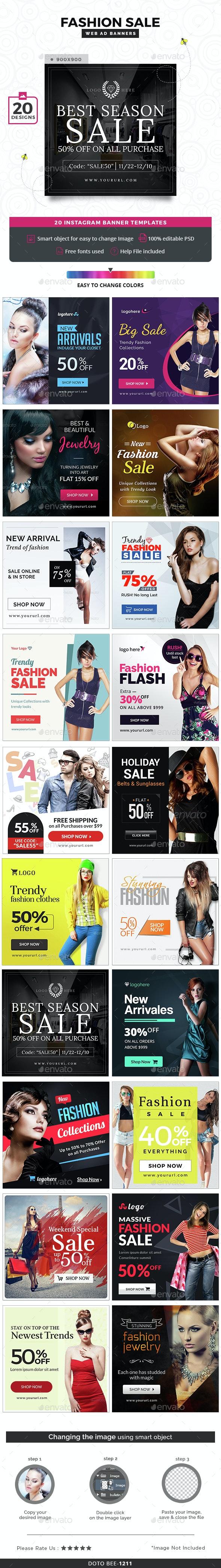 Fashion Sale Instagram Templates - 20 Designs - Social Media Web Elements