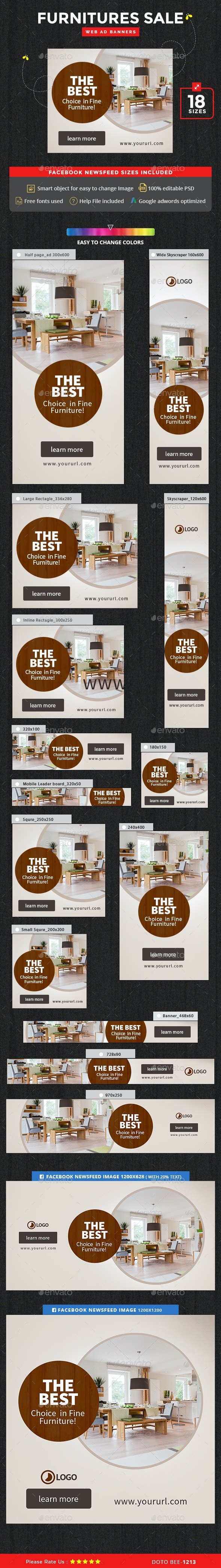 Furnitures Sale Banners - Banners & Ads Web Elements