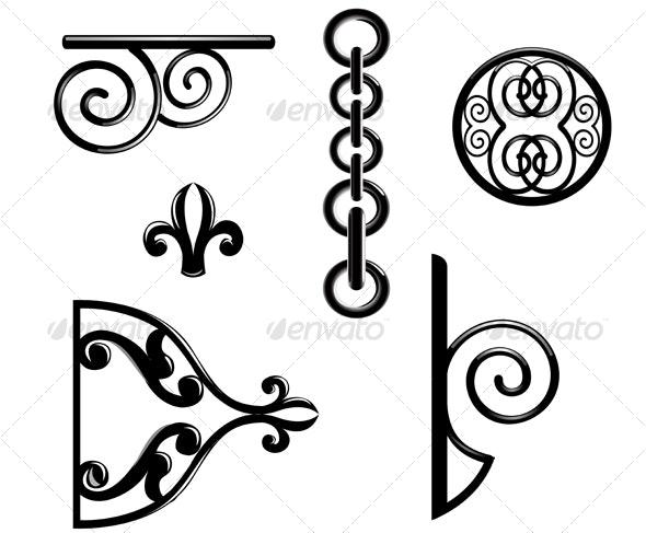 Black metallic decorations - Decorative Vectors