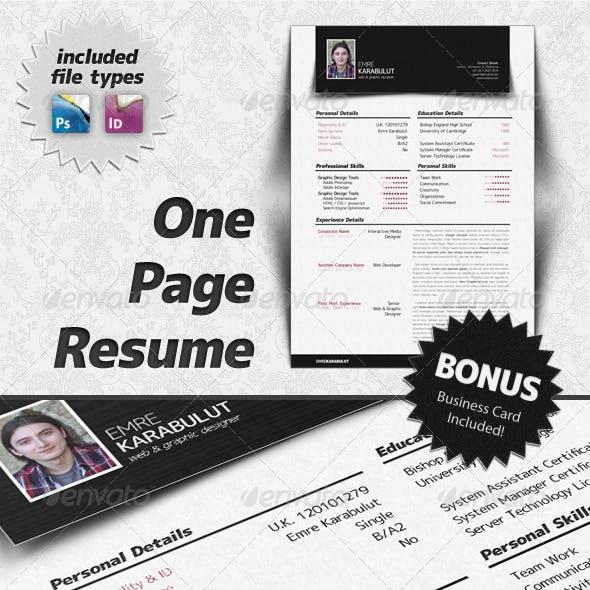 Minimalist One Page Resume (CV)