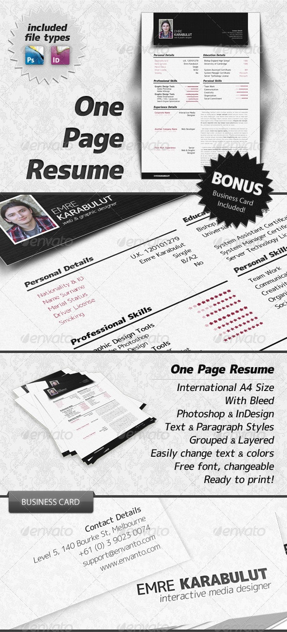 Minimalist One Page Resume (CV) - Resumes Stationery