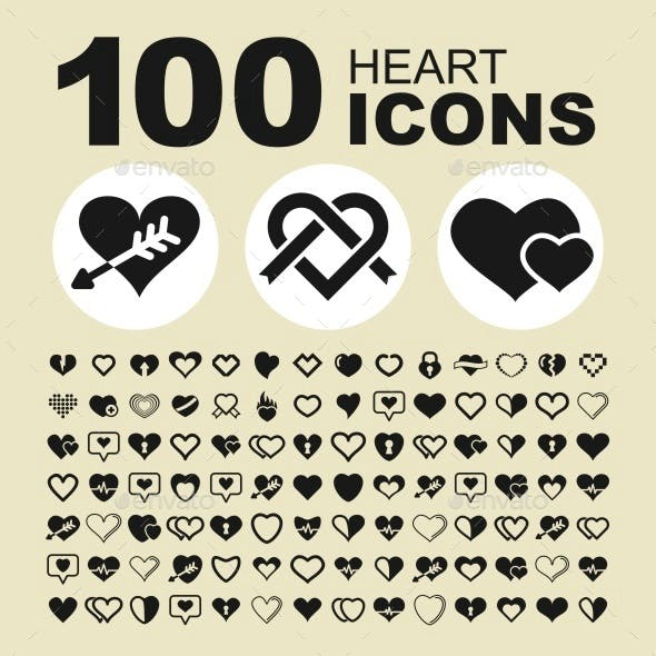 Heart vector icon set.