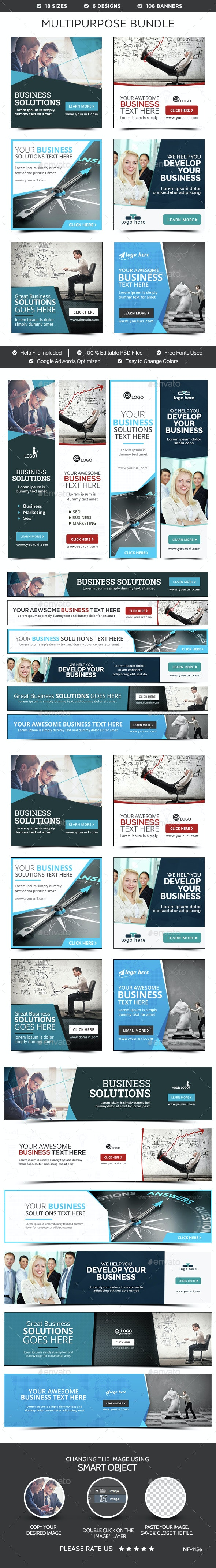 Multipurpose Banners Bundle - 6 Sets - 108 Banners - Banners & Ads Web Elements
