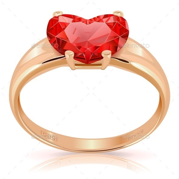 Golden Ring with Ruby - Valentines Seasons/Holidays