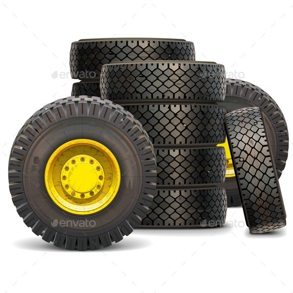 Old Tractor Wheel Set 2 - Industries Business