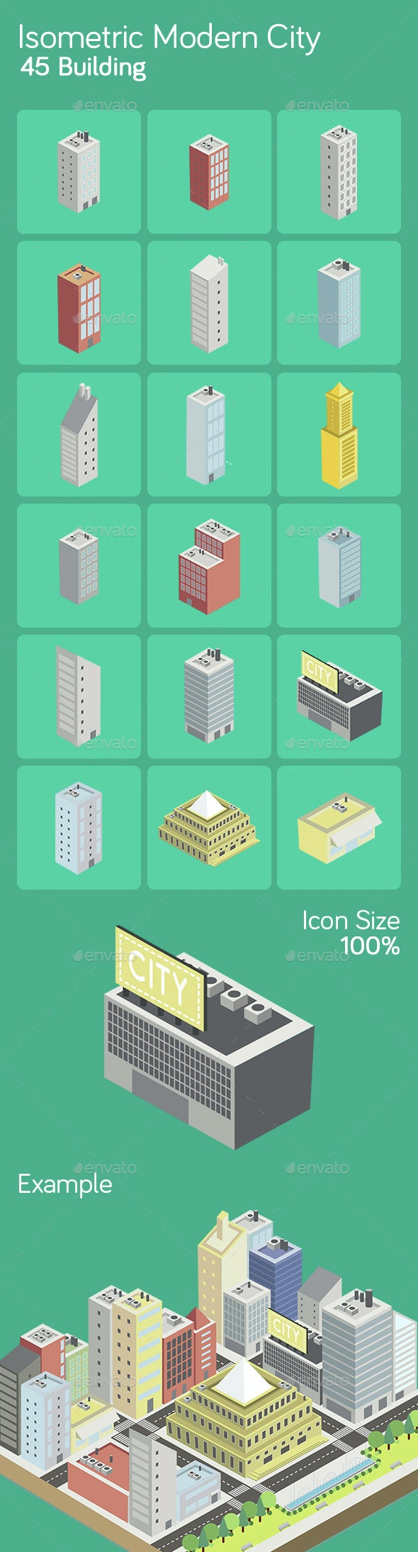 Isometric Modern City - Buildings Objects