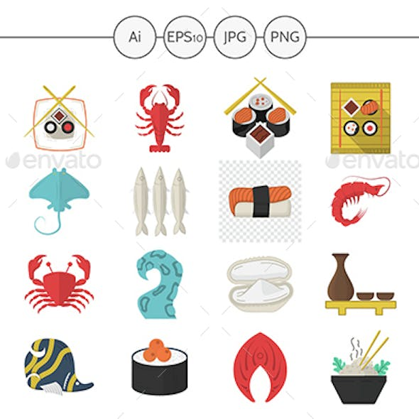 Asian and seafood menu flat vector icons