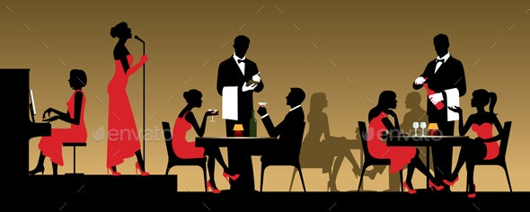 People in Night Club or Restaurant Sitting at a Table - People Characters