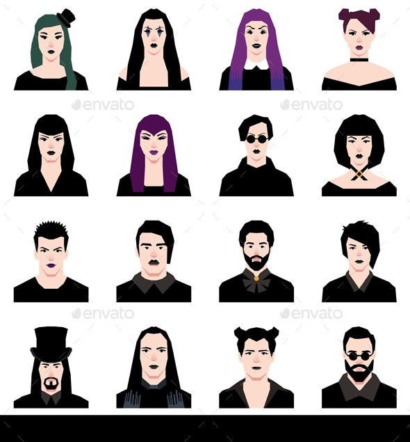 Set in a Flat Style Avatars Male and Female Goths - Web Elements Vectors