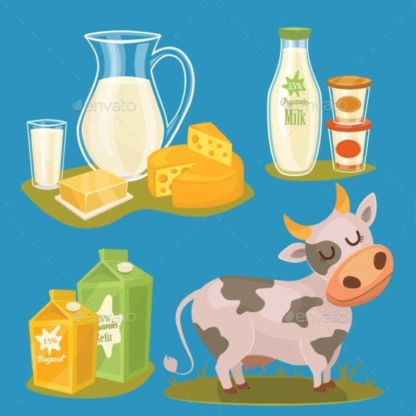 Dairy Products Isolated Illustration