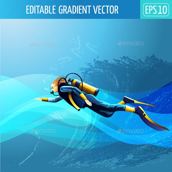 Scuba Diver Girl - People Characters