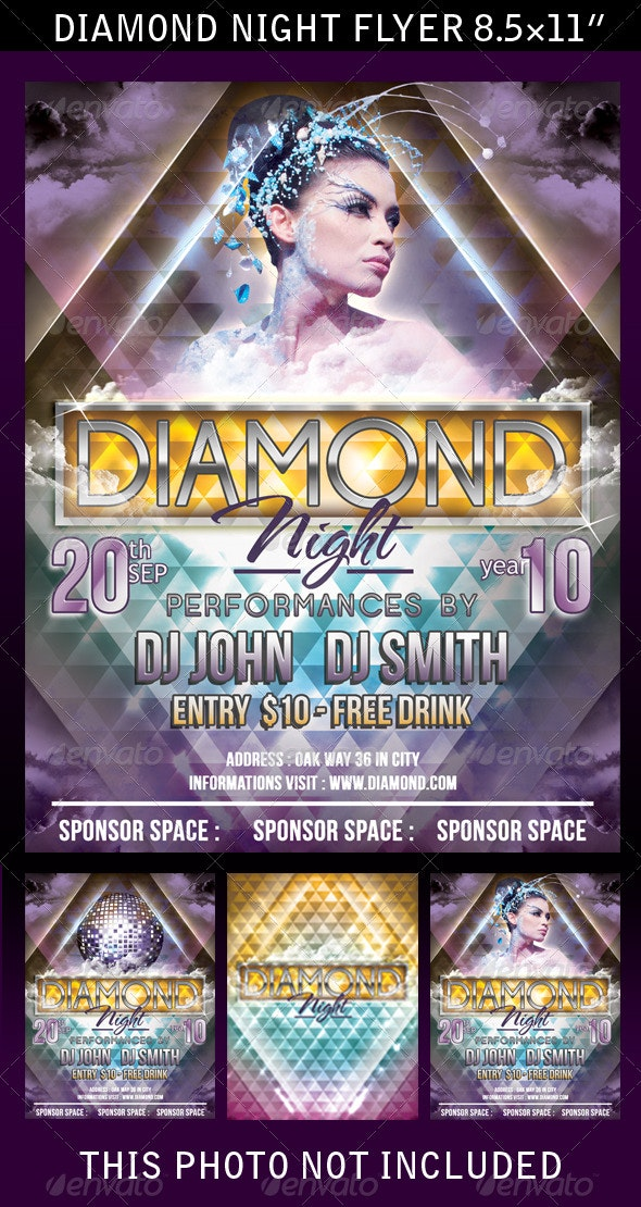Diamond Night Flyer/Poster Template - Clubs & Parties Events