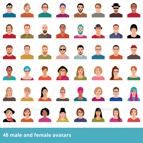 Set of Avatars in a Flat Style Icons - People Characters