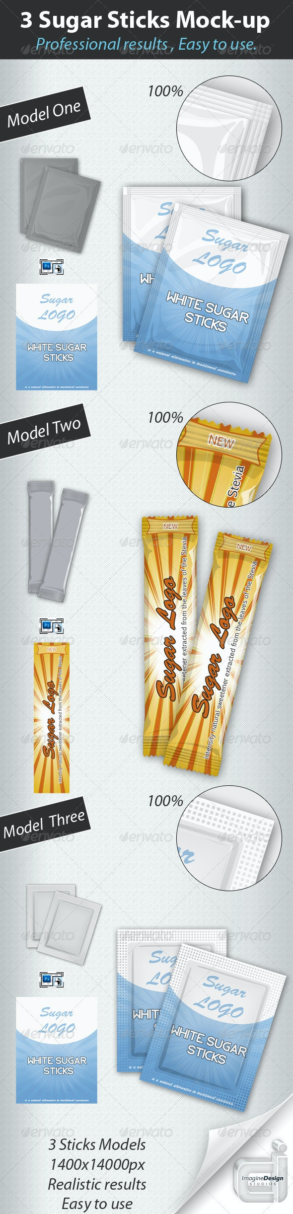 Professional 3 Sugar Sticks Mock-up - Food and Drink Packaging