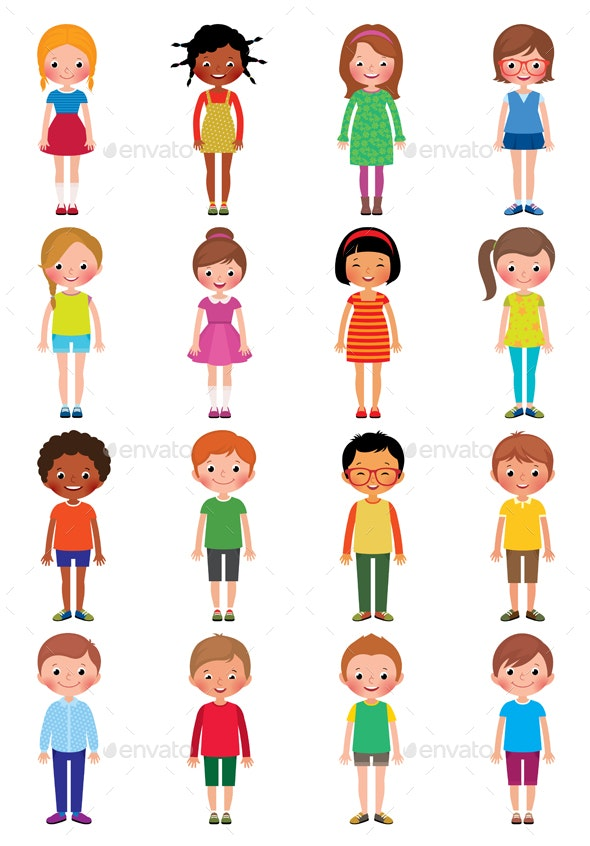 Set of Different Kids Girls and Boys on a White Background - People Characters