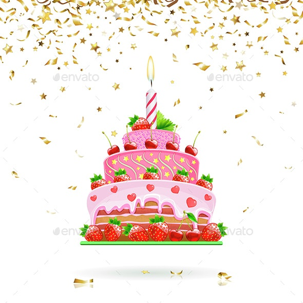 Celebratory Cake with Confetti - Food Objects