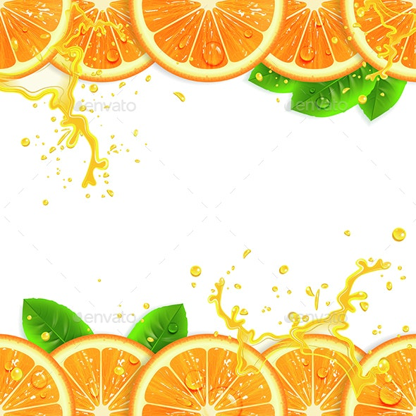 Banner with Fresh Oranges - Backgrounds Decorative