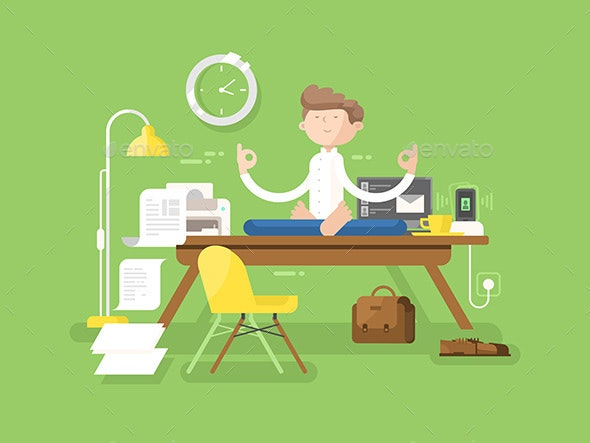 Meditation Businessman in Office - People Characters
