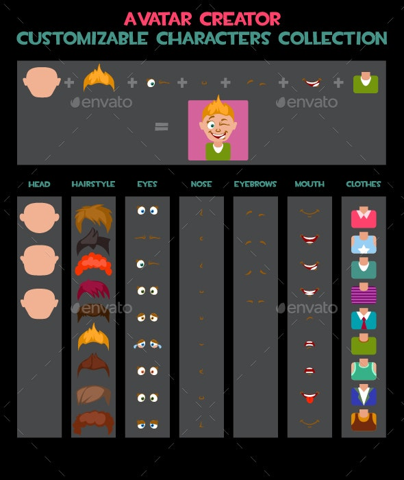 Customizable Characters Avatars Collection - People Characters