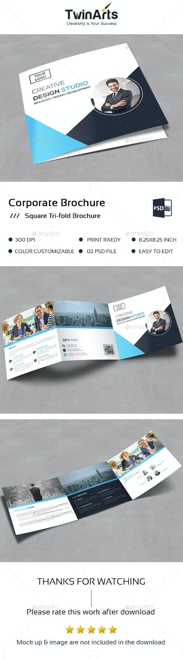 Corporate Squre Trifold Brochure - Brochures Print Templates