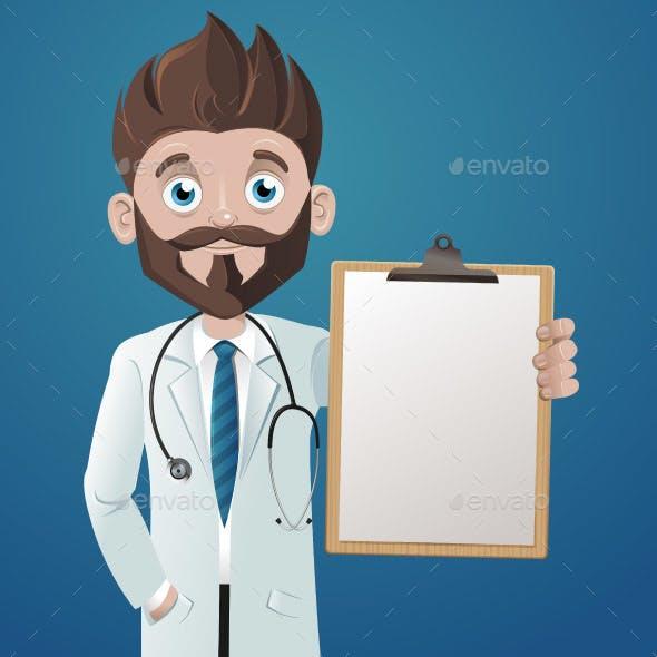 Cartoon Doctor Holding a Blank Clipboard