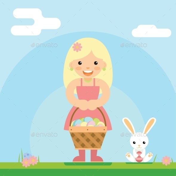 Happy Girl with Easter Basket and Bunny - Miscellaneous Seasons/Holidays