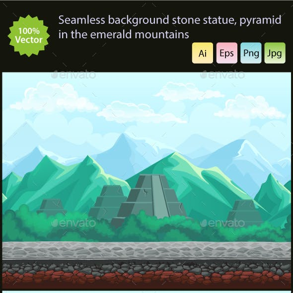 Stone Statue and Pyramid in the Emerald Mountains