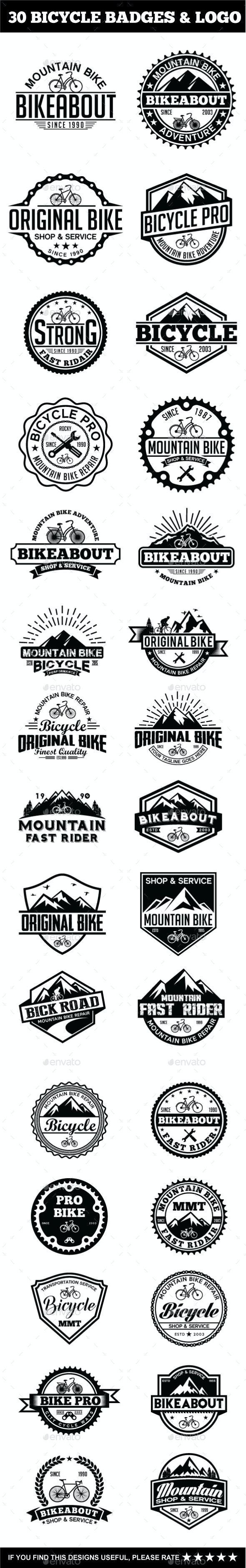 30 Bicycle Badges & Stickers Bundle - Badges & Stickers Web Elements