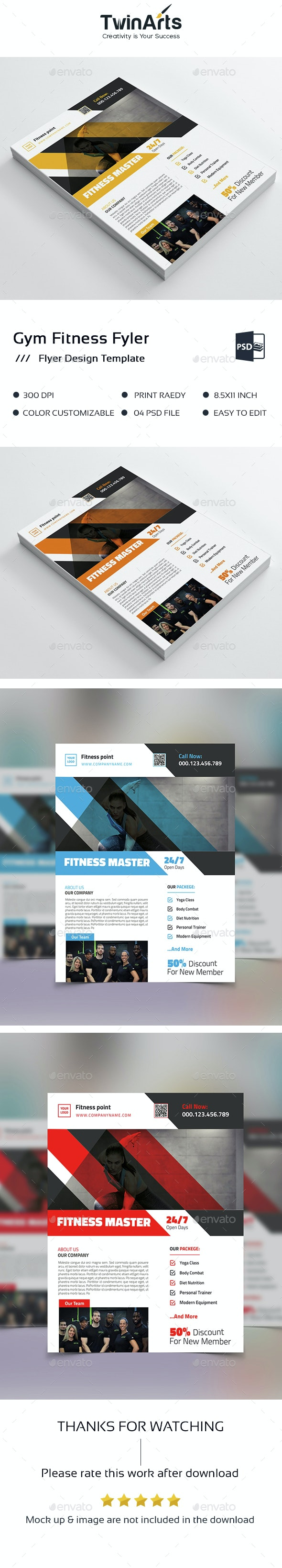 Gym Fitness Business Flyer  - Flyers Print Templates