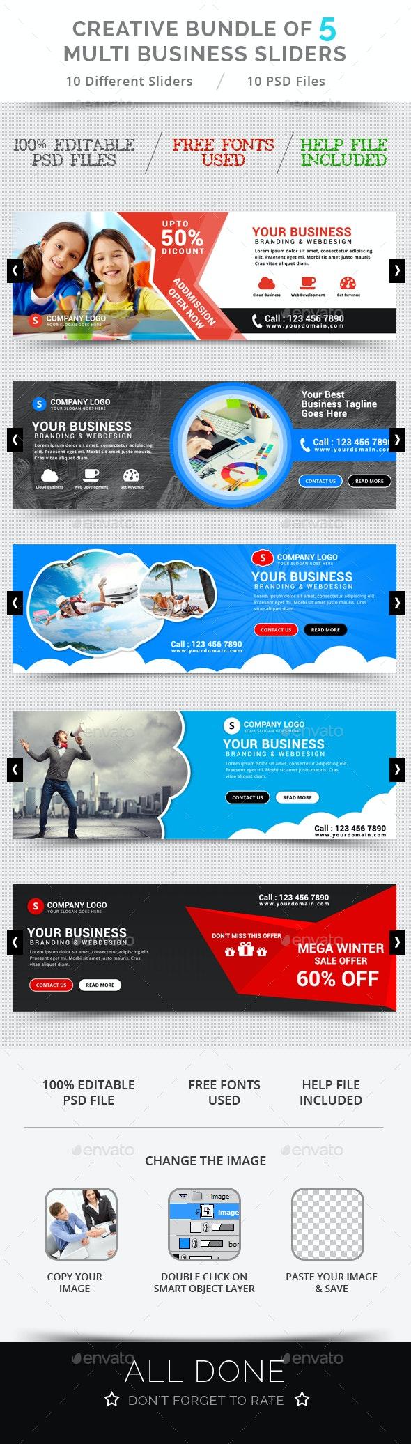 Bundle of 5 Creative Business Sliders - Sliders & Features Web Elements