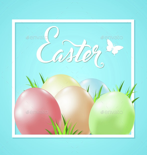 Easter Card with Eggs and Grass - Miscellaneous Seasons/Holidays