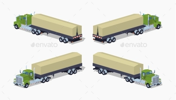 Low Poly Green Heavy Truck and Trailer - Man-made Objects Objects