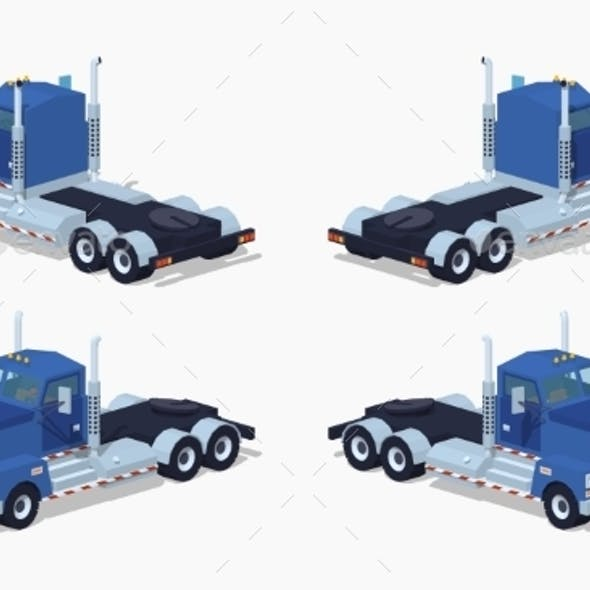 Low Poly Blue Heavy Truck