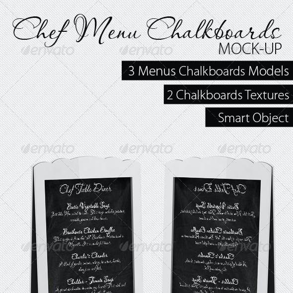 Chef Menu Chalkboards Mock-Up