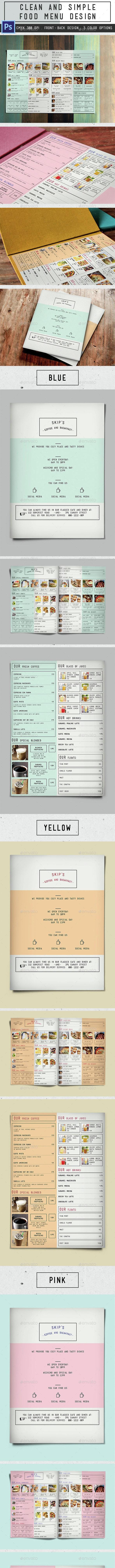 Clean Simple Bifold Menu - Food Menus Print Templates