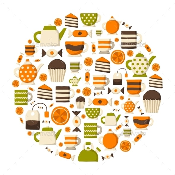 Round Teatime Background - Food Objects
