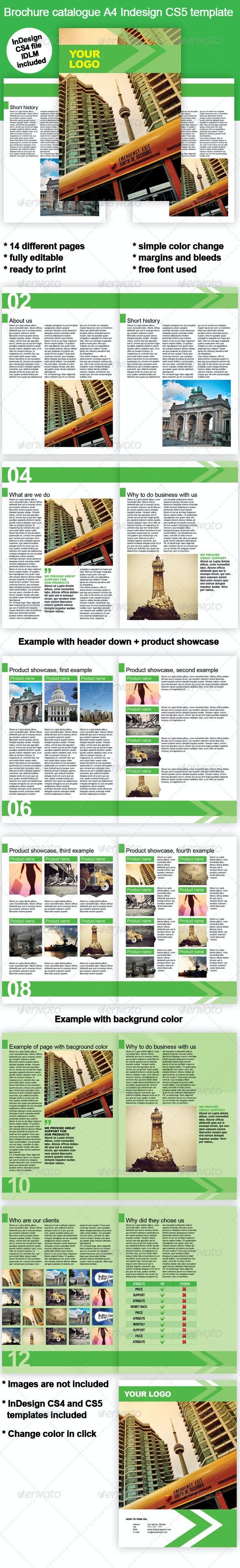 Green Business Brochure InDesign Template - Corporate Brochures