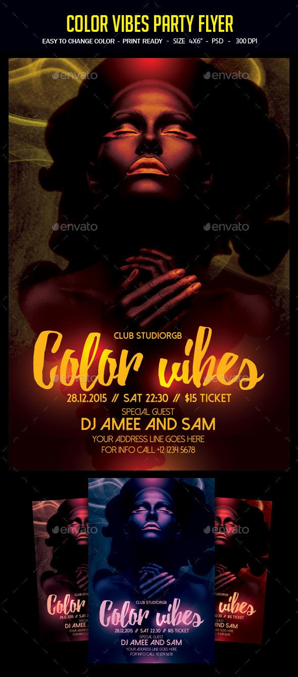 Color Vibes Party Flyer - Clubs & Parties Events