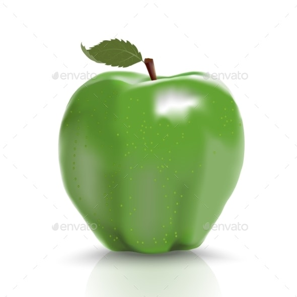 Green Ripe Apple Isolated Over White - Food Objects