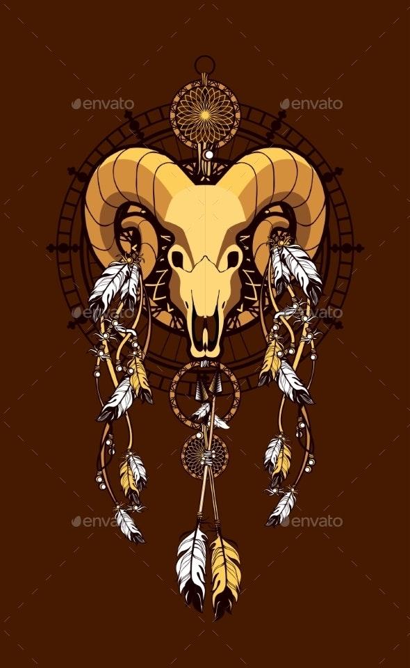 Aries Sacred Animal Emblema - Tattoos Vectors