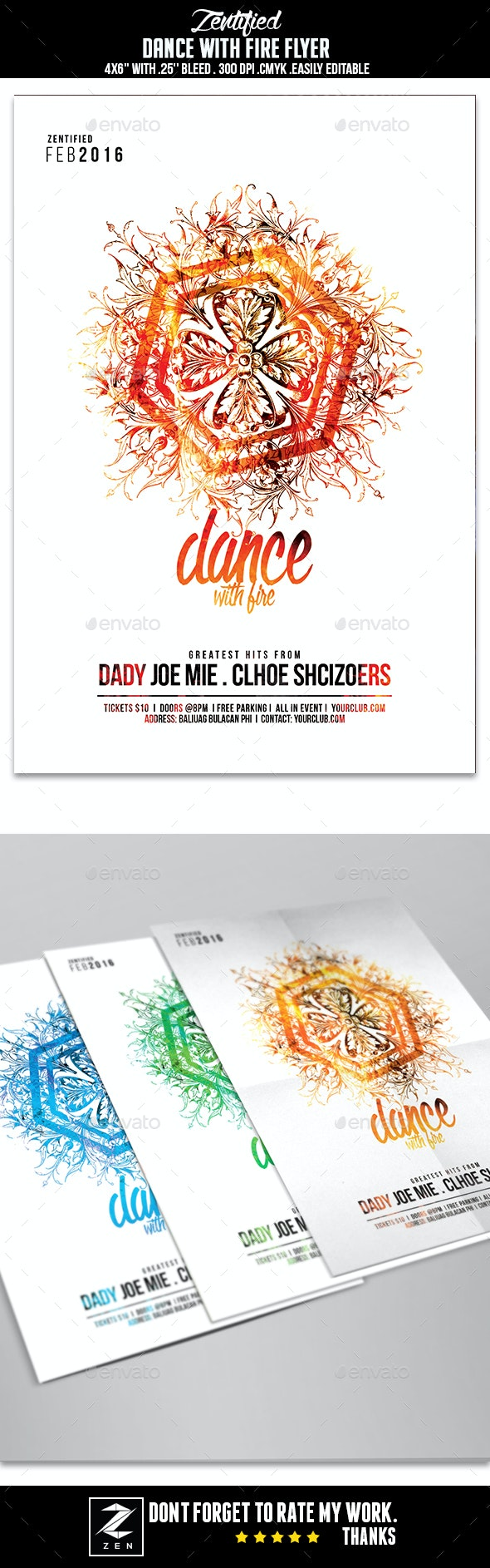 Dance With Fire Party Flyer - Events Flyers