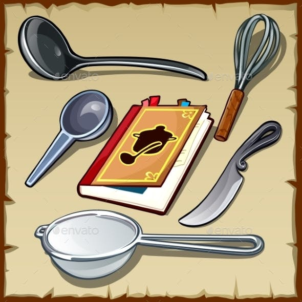 Set Of Tableware For Cooking And Cookbook