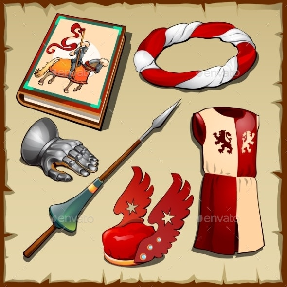 Knight Different Items Of The Middle Ages - Decorative Symbols Decorative